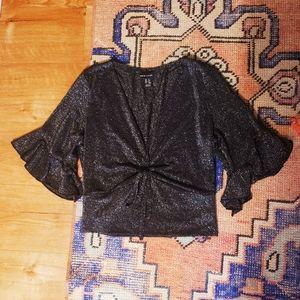New Look Shimmery Black Crop Top